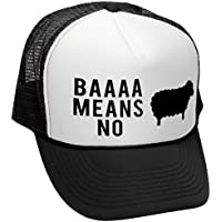 Facsea BAAAAAA MEANS NO sheep parody joke gag - Adult Trucker Cap Hat Black