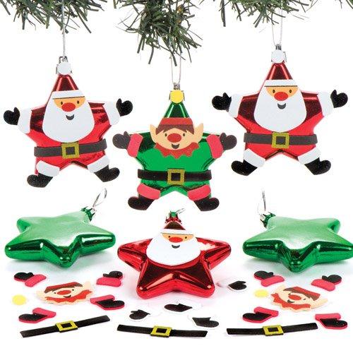Weihnachtskugel-Bastelsets Weihnachtsmann und Elf für Kinder Zum Selbermachen und als Weihnachtsbaumschmuck – Kreative Bastelidee für Kinder (6 Stück)