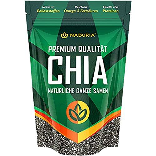 NADURIA Premium Chia Samen (Schwarz) – Reich an Ballaststoffen & OMEGA 3 Fettsäuren – inkl. wiederverschließbarer Verpackung!