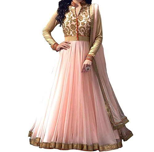 I-Brand Orange Peach Color Soft Net Fabric Embroidered Salwar - Suit (Semi-Stitched) ( New Arrival Latest Best Design Beautiful Dresses Material Collection For Women and Girl Party wear Festival wear Special Function Events Wear In Low Price With High Demand Todays Special Offer and Deals with Fancy Designer and Bollywood Collection 2017 Punjabi Anarkali Chudidar Patialas Plazo pattern Suits )  available at amazon for Rs.535