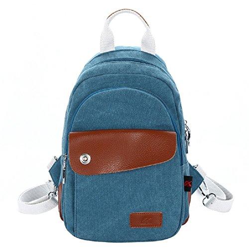 Zaini Tela Vintage - Landove Zaino Casual Tasche Borse a Zinetto Donna Uomo per Viaggio / Spiaggia / Scuola / Sportiva blu