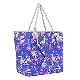 Große Strandtasche mit Reißverschluss 58 x 38 x 18 cm Palmen rosa blau Shopper Schultertasche Miami Florida Tasche