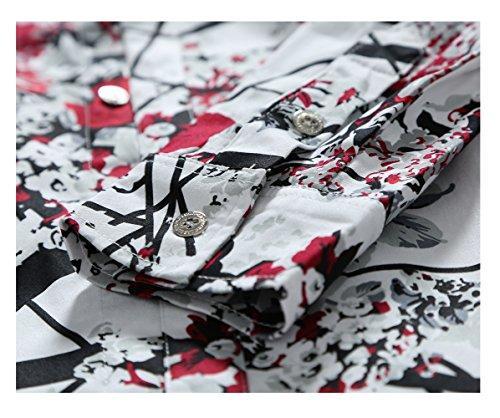 Herren Art-langärmliges Blumen Hemd Shirt Rot
