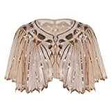 PrettyGuide Damen Stola Abendkleid Perlen Pailletten Art Deco 20er Jahre Schal Rosa