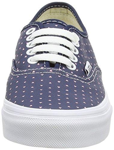 Vans Authentic Slim, Baskets basses mixte adulte Bleu - Blue (Micro Hearts - Dress Blues/True White)
