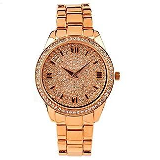 Eton señoras reloj, esfera de diamantes de tono de oro pulsera, caso y Rosa, Low níquel 3248j-rg