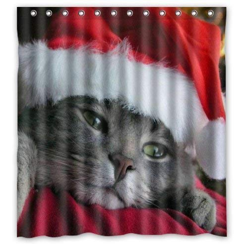 Kailey hello 60(w) x72(L) Custom Cute Kitten Kitty Cat with Red Christmas Hat Animals Waterproof Bathroom Fabric Shower Curtain