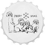 Azeeda 'Weihnachten Erdmännchen' Cap Förmiger Flaschenöffner Kühlschrankmagnet (BO00013395)