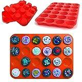 WarehouseShop WSS- 24 Hohlraum Mini Muffin Tasse Silikon Seife Kekse Kuchen Backformen Pfanne Tablett Form - Rot