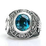 AMDXD Echtschmuck Ring Echt Silber Herren Blau Runde Topas Vintage Totem Silber Größe 54 (17.2)