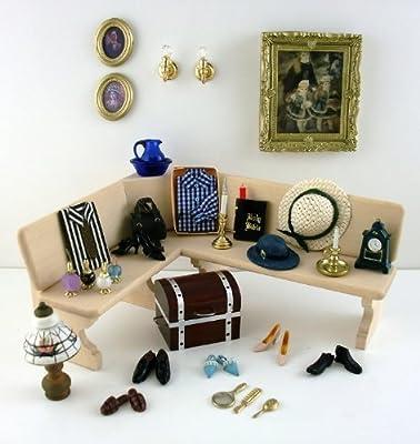 Juego de accesorios de dormitorio en miniatura para casa de muñecas zapatos perfumes sombreros bahúl etc.