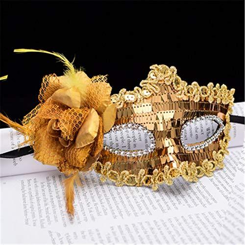 ZjkMr Jalousien Dressing Kleid Flauschigen Federn Diamant Spitze Partei Ball Maske Weihnachten kindermaske (8 Farben erhältlich) F 15 cm X 8 cm -