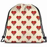 fjfjfdjk archor Heart Anchor Holidays Drawstring Backpack Gym Sack Lightweight Bag Water Resistant...