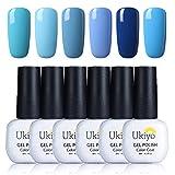 Ukiyo Smalto Semipermanente 6pcs Smalto per Unghie Colore Blu per Unghie Soak Off 8ml con Caja