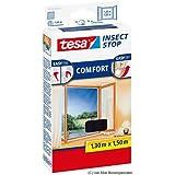 tesa Fliegengitter für Fenster, beste tesa Qualität, anthrazit, durchsichtig, 1,3m x 1,5m