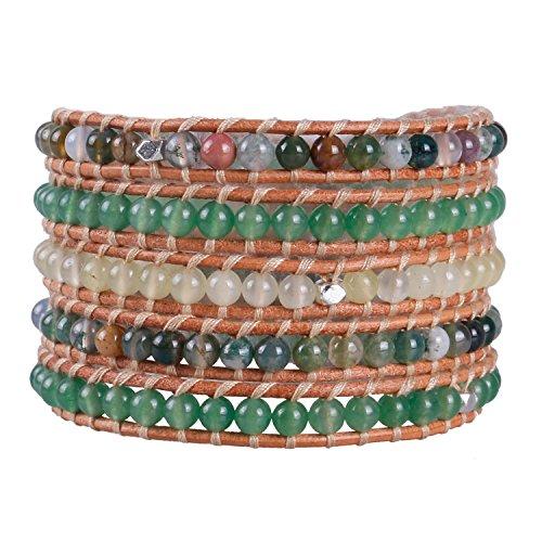 KELITCH Synthetisch Jade Achat Edelstein Perlen Strand 5 Wicklen Armband Handmade Näturlich Leder Neu Damen Schmuck (Grün)