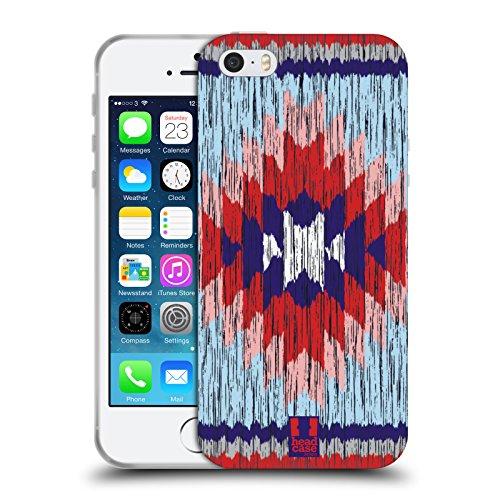 Head Case Designs Fiamme Stampe Tribali Legno Cover Morbida In Gel Per Apple iPhone 7 / iPhone 8 Blu Nativo