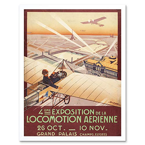 Dorival Air Show Aeroplane Exhibition Paris Advert Art Print Framed Poster Wall Decor 12x16 inch Flugzeug Ausstellung Werbung Wand Deko (Paris Air Show)