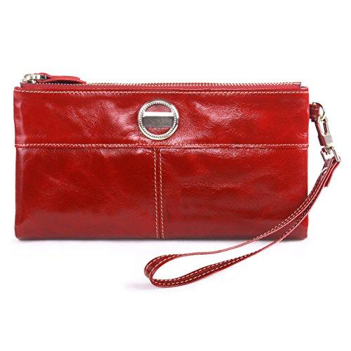 Yvonnelee Donne Della Signora Frizione Lungo Della Borse Borsa cuoio genuino Della Carta Portafoglio Leather Titolare Portamonete Rosso