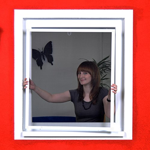 Fliegengitter Smart flächenbündig für flächenversetzte Fenster - Alu Bausatz für Fenster - Insektenschutz 130 cm x 150 cm | Weißer Rahmen