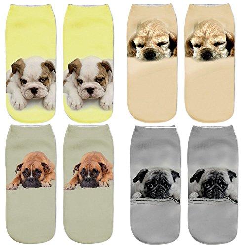 Muster Fußkettchen Socken (DouTree Frauen Mädchen 3D Verrückte Lustige Cartoon Katzen Hunde Tiere Socken (Hund-2))