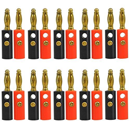 Yahee Bananenstecker Lautsprecher Bananen Stecker Vergoldete High End 4mm Lautsprecherkabel 20 Stück