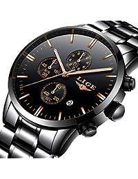 Montres pour Hommes,LIGE Acier Inoxydable Chronographe Sport Quartz Analogique Montres Imperméable Cadran Noir Calendrier Mode Décontracté Luxe Montres Bracelet