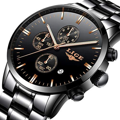 Orologi da uomo,lige acciaio inox impermeabile sportivo analogico al quarzo orologi cronografo data calendario moda casuale lusso orologi da polso nero