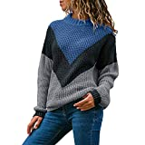 IZHH Damen Pullover Mode Rundhals Farbblock Langarm Strickpullover Tops Pullover Jumper Farbe Passende Zopfmuster Strick Party Pullover Outdoor Oberteil Daily Shirt(Blau,Small)