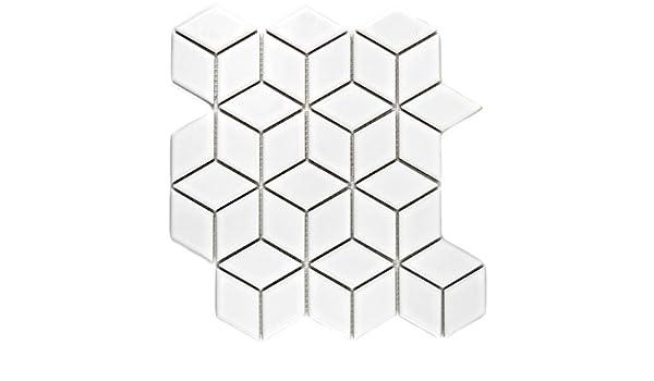Mosaik Fliese Keramik wei/ß 3D W/ürfel wei/ß gl/änzend f/ür WAND BAD WC DUSCHE K/ÜCHE FLIESENSPIEGEL THEKENVERKLEIDUNG BADEWANNENVERKLEIDUNG Mosaikmatte Mosaikplatte