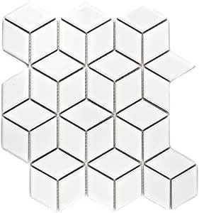 Mosa/ïque pour carrelage c/éramique blanc 3D Cube Blanc brillant pour rev/êtement miroir mural de salle de bain wc douche Cuisine Carreaux Rev/êtement theken baignoires mosa/ïque Tapis Mosa/ïque Plaque