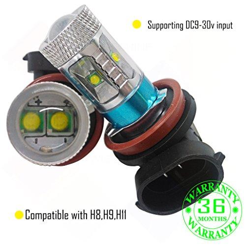Preisvergleich Produktbild Wiseshine H9 6000k cree fog led canbus birne lampe DC9-30v 3 Jahre Qualitätssicherung (2 Stück) H9 6 HP led reines Weiß