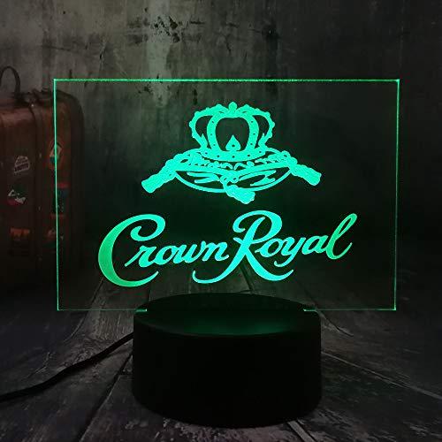 Crown Royal Logo Whisky Whisky Wein 3D Led Nachtlicht Tisch Schreibtischlampe Home Room Office Decor Neujahr Weihnachten Weihnachtsgeschenk -
