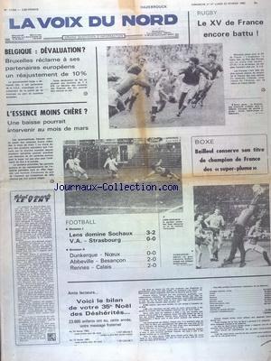 VOIX DU NORD (LA) [No 11704] du 21/02/1982 - BELGIQUE - DEVALUATION - LES SPORTS - FOOT - BOXE AVEC BAILLEUL - RUGBY