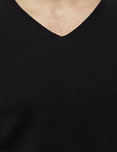 James Tyler Pull-over pour homme avec col enV et renforts de coude de couleur contrastante Noir