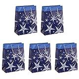 Sigel GT025 Lot de 5 sacs cadeaux Noël, 33 x 26 cm, bleu et blanc