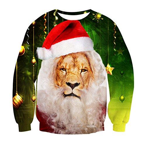 Leapparel Christmas Pullover Damen Lustig 3D Löwe Printing Christmas Langarm Kostüm Grün (Kostüm Löwe Amazon)