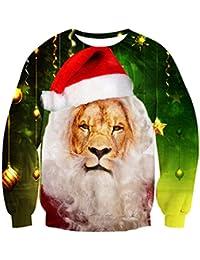 Leapparel Unisex Christmas Crewneck Sweatshirt Novelty Xmas Animal Elf 3D Print Long Sleeve T-Shirt
