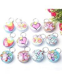 Infinxt Tin Box Keychain For Kids Birthday Return Gift Set Of 6 (Round)