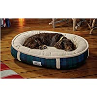 Orvis Comfortfill Wraparound Dog Bed With Fleece / Large Dogs 60-90 Lbs., Black Watch,