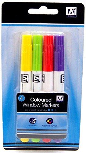 Farbige Fenster Marker trocken abwischbar Marker Neon Marker Stifte Window Marker 4Stück (Farbigen Trocken Abwischbaren)