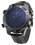 Shark Herren Armbanduhr Quarzuhr Schwarze Armband aus Leder Analog LED Anzeige mit Datumanzeige SH262 Grau