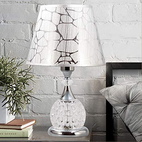Glas Modern Schreibtisch (Rishx Moderne Mode Glas Schreibtisch Tischleuchte Kreative Romantische Kristall Schlafzimmer Nachttischlampe Augenschutz LED Desktop Beleuchtung Für Arbeitszimmer Wohnzimmer E27 (Color : Silver))