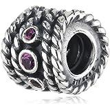 Pandora Damen-Charm 925 Sterling Silber Rhodolith rosa 790979RHL