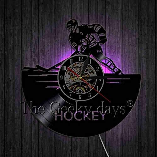 DFRTY Eishockey Wand Dekor Schallplatte Wanduhr Moderne handgemachte Kunst Dekor Ihr Zimmer originelles Geschenk Hockey Fans