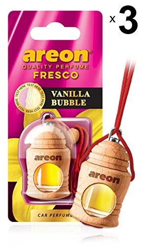 AREON Fresco Auto Luft Vanille Bubble Gum Duft Autoduft Kaugummi Rot Glas Flasche Duftflakon Parfüm Set Flakon Holz Aufhängen Hängend Anhänger Spiegel 4ml 3D (Vanilla Bubble Pack x 3) -