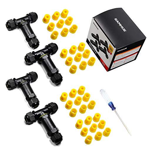Abzweigdose Kabelverbinder IP68 Verteilerdose Wasserdicht Klemmdose für Aussen 3-polig für 4-14mm Kabeldurchmesser T-Form (4 Stück) -
