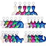25 Piezas de Llavero de Lentejuelas Flip con Forma de Unicornio Cola de Sirena Estrella Gato para Niños Regalo de Fiesta de Cumpleaños