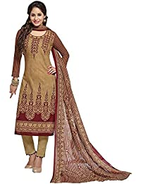 Baalar Women's Cotton Unstitched Dress Material (2010_Beige_Free Size By Onkar Trading)