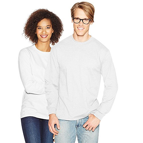 Hanes Adult Beefy-T Long-Sleeve T-Shirt, Ash, 2XL White